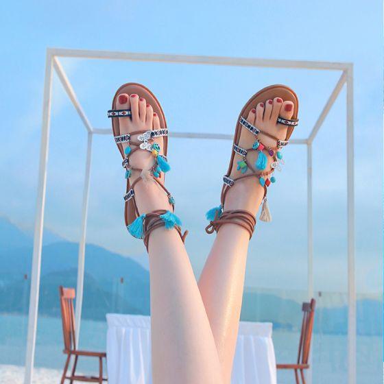 Moderne / Mode Bohême Marron Sandales Femme Plage Cuir Été Perlage Lanières Gland Plate Sandales Chaussures Femmes 2019