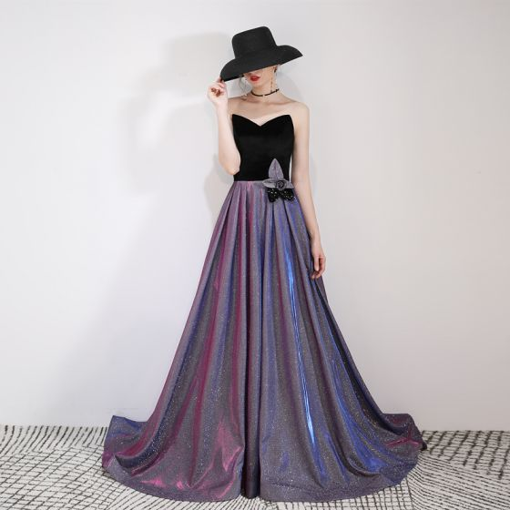 Charming Purple Starry Sky Evening Dresses  2019 A-Line / Princess Suede Strapless Glitter Polyester Appliques Sleeveless Backless Sweep Train Formal Dresses