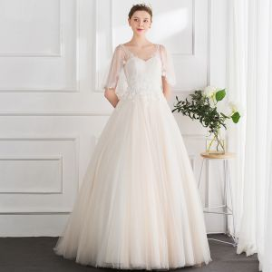 Chic / Beautiful Champagne Wedding Dresses 2018 Ball Gown Lace Appliques Pearl Scoop Neck Backless 1/2 Sleeves Floor-Length / Long Wedding