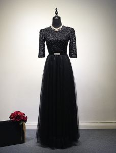 Evening Dress 2016 Elegant Scoop Neck Glitter Lace Black Tulle Long Evening Dress With Belt