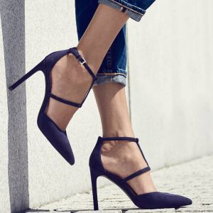 Schlicht Schwarz Strassenmode Sandalen Damen 2020 Knöchelriemen 9 cm Stilettos Spitzschuh Sandaletten