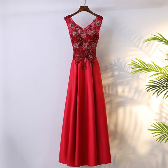 Chic / Beautiful Red Formal Dresses 2017 A-Line / Princess Lace Flower Bow Backless V-Neck Sleeveless Ankle Length Evening Dresses