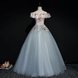 Modern / Fashion Pearl Pink Grey Prom Dresses 2019 Ball Gown Off-The-Shoulder Short Sleeve Appliques Lace Pearl Floor-Length / Long Ruffle Backless Formal Dresses