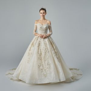 Luxury / Gorgeous Champagne Wedding Dresses 2019 A-Line / Princess Off-The-Shoulder Pierced 3/4 Sleeve Backless Appliques Lace Beading Chapel Train Ruffle