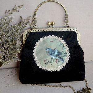Chinese Stijl Vintage Zwarte Velour Geborduurde Handtassen 2020