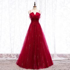 Charming Burgundy Evening Dresses  2019 A-Line / Princess Spaghetti Straps Crystal Lace Flower Rhinestone Sleeveless Backless Floor-Length / Long Formal Dresses