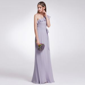 Modest / Simple Lavender Chiffon Bridesmaid Dresses 2019 A-Line / Princess One-Shoulder Sleeveless Sash Floor-Length / Long Ruffle Backless Wedding Party Dresses