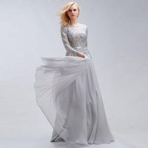 Elegant Grey Evening Dresses  2017 A-Line / Princess Scoop Neck Long Sleeve Crystal Rhinestone Sash Sweep Train Backless Formal Dresses