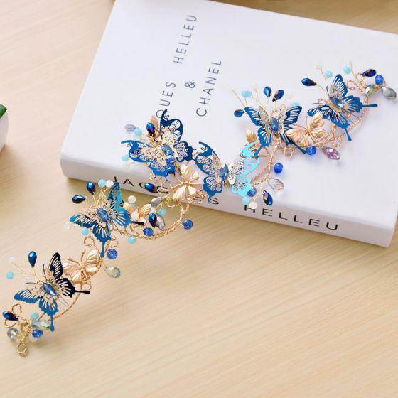 Mooie / Prachtige Koninklijk Blauw Bruidssieraden 2017 Metaal Vlinder Kralen Rhinestone Haaraccessoires Huwelijk Gala Accessoires