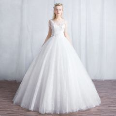 Affordable Ivory See-through Wedding Dresses 2019 A-Line / Princess Scoop Neck 1/2 Sleeves Backless Appliques Lace Floor-Length / Long Ruffle