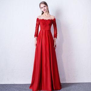 Schöne Rot Abendkleider 2019 A Linie Rundhalsausschnitt Applikationen Perlenstickerei Spitze Blumen 3/4 Ärmel Rückenfreies Lange Festliche Kleider