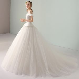 Modest / Simple Ivory Wedding Dresses 2018 Ball Gown Off-The-Shoulder Backless Short Sleeve Court Train Wedding