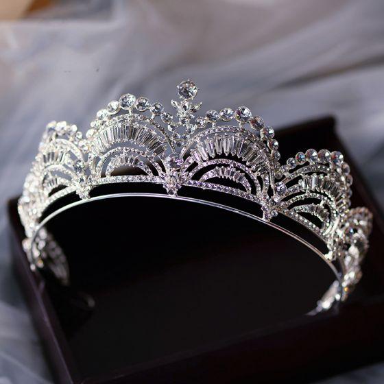 Klassieke Zilveren Tiara Bruids Haaraccessoires 2020 Legering Rhinestone Huwelijk Accessoires