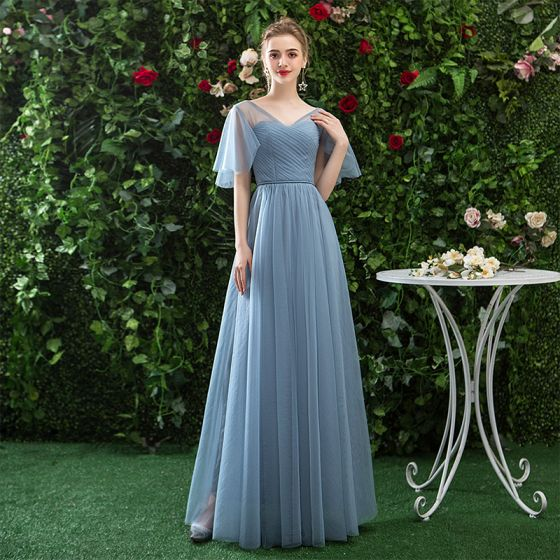Modest / Simple Affordable Ocean Blue Bridesmaid Dresses 2019 A-Line / Princess V-Neck Backless Floor-Length / Long Ruffle Wedding Party Dresses