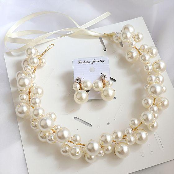 Eleganckie Złote Kolczyki Opaski na głowę Biżuteria Ślubna 2020 Stop Koronki Perła Ozdoby Do Włosów Ślub Akcesoria