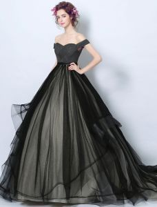 Elegant Prom Dresses 2017 Off The Shoulder Ruffle Black-champagne Tulle Dress