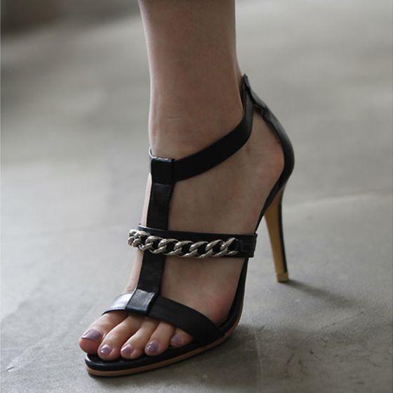 Modest / Simple Black Leather Casual Womens Sandals 2019 T-Strap 8 cm Stiletto Heels Open / Peep Toe Sandals