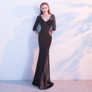 Mode Schwarz Abendkleider 2017 Mermaid V-Ausschnitt 3/4 Ärmel Durchbohrt Lange Rückenfreies Festliche Kleider