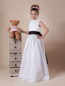 Beautiful White Satin Black Sash Flower Girl Dress