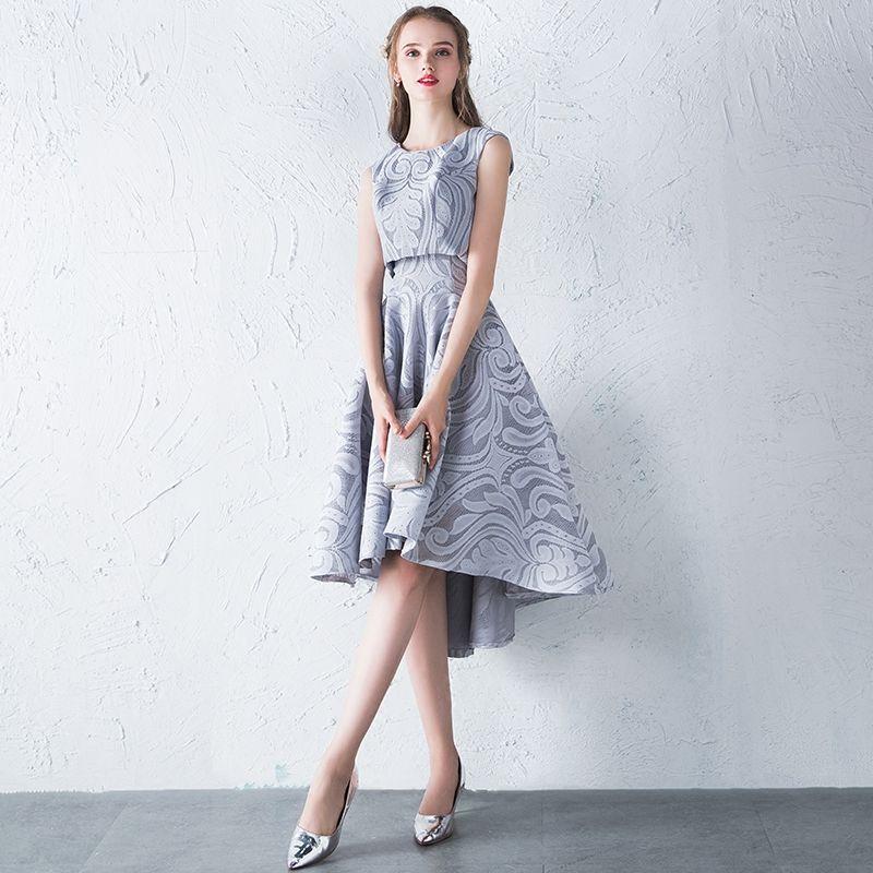 2 Piece Hall Formal Dresses 2017 Graduation Dresses Silver A-Line / Princess Asymmetrical Cascading Ruffles Scoop Neck Sleeveless Backless Lace Appliques
