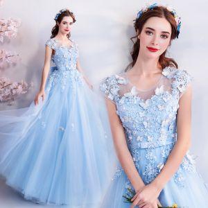 Hermoso Azul Cielo Vestidos de noche 2018 A-Line / Princess U-escote Mangas de la tapa mariposa Apliques Con Encaje Rebordear Bowknot Cinturón Largos Ruffle Sin Espalda Vestidos Formales