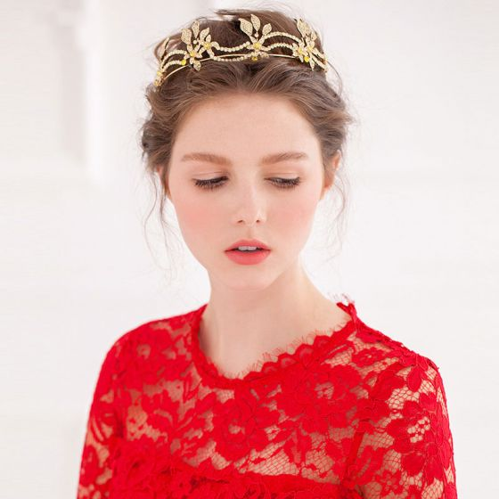 Gyllen Vintage Diamant Brude Tiara / Luksus Krone