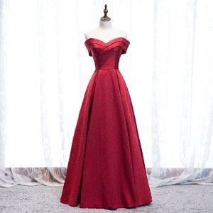 Elegant Burgundy Evening Dresses  2020 A-Line / Princess Satin Off-The-Shoulder Short Sleeve Backless Floor-Length / Long Formal Dresses