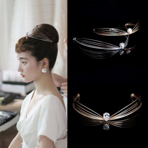 Audrey Hepburn Stil Vintage Hårpynt 2020 Legering Rhinestone Tiara Bryllups Accessories