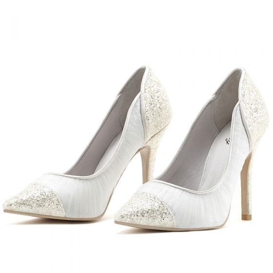 Chic / Beautiful White Wedding Shoes 2019 Leather Lace Sequins 8 cm Stiletto Heels Pointed Toe Wedding Pumps