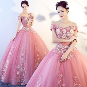 Chic / Beautiful Candy Pink Prom Dresses 2017 Ball Gown Off-The-Shoulder Short Sleeve Appliques Lace Floor-Length / Long Ruffle Backless Formal Dresses