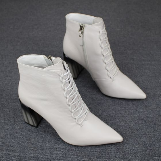 Mote Hvit Casual Kvinners støvler 2019 Lær 8 cm Tykk Hæler Spisse Boots