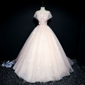 Chic / Beautiful Pearl Pink Prom Dresses 2017 Ball Gown Lace Flower Artificial Flowers Butterfly Pearl Scoop Neck Short Sleeve Floor-Length / Long Formal Dresses