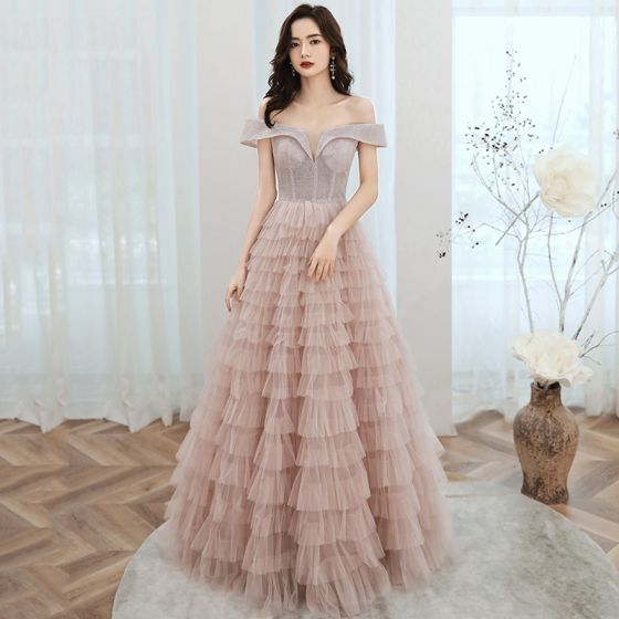 Chic / Beautiful Pearl Pink Evening Dresses  2020 A-Line / Princess Off-The-Shoulder Short Sleeve Glitter Polyester Floor-Length / Long Cascading Ruffles Backless Formal Dresses