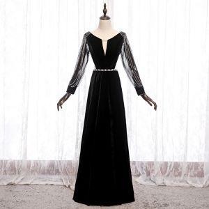 Niedrogie Czarne Welur Sukienki Wieczorowe 2020 Princessa Przezroczyste Głęboki V-Szyja Bufiasta Długie Rękawy Frezowanie Szarfa Trenem Sweep Wzburzyć Bez Pleców Sukienki Wizytowe