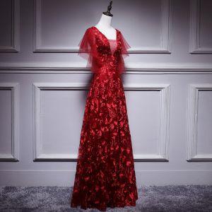 Charmant Bordeaux Robe De Bal 2018 Princesse En Dentelle Fleur Paillettes V-Cou Dos Nu Manches Courtes Longue Robe De Ceremonie
