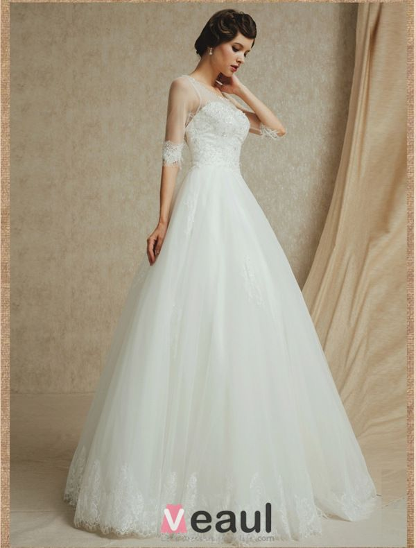 2015 A-line Shoulders Square Neckline 1/2 Sleeves Beading Backless Wedding Dress