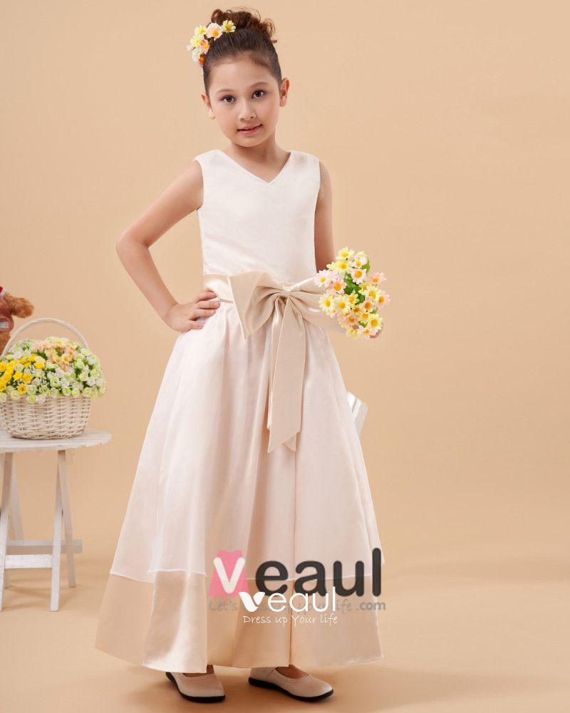 Charmeuse Round Neck Knee Length Flower Girl Dresses