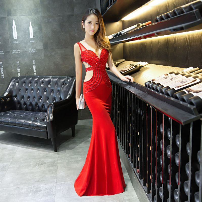 Modern / Fashion 2017 Black Red White Beach Royal Blue Casual Cocktail Party Evening Party Crystal Polyester Summer Evening Dresses