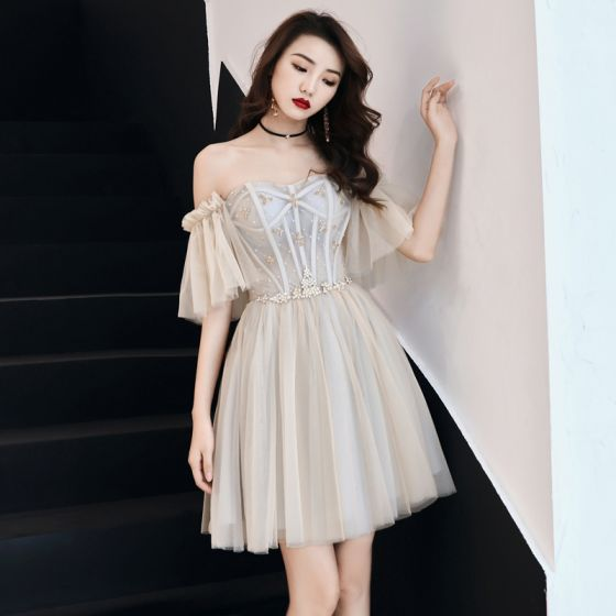 Charming Champagne Party Dresses 2019 A-Line / Princess Off-The-Shoulder Crystal Short Sleeve Backless Short Formal Dresses