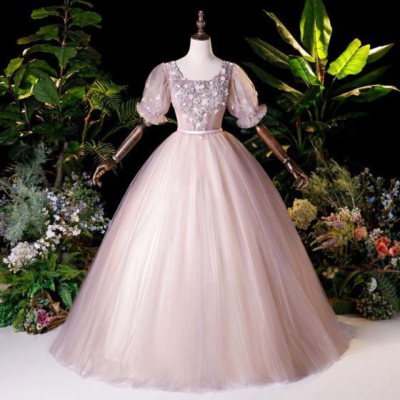 Vintage Rodnande Rosa Dansande Balklänningar 2020 Balklänning Fyrkantig Ringning Pösigt Korta ärm Appliqués Spets Beading Pärla Långa Ruffle Halterneck Formella Klänningar