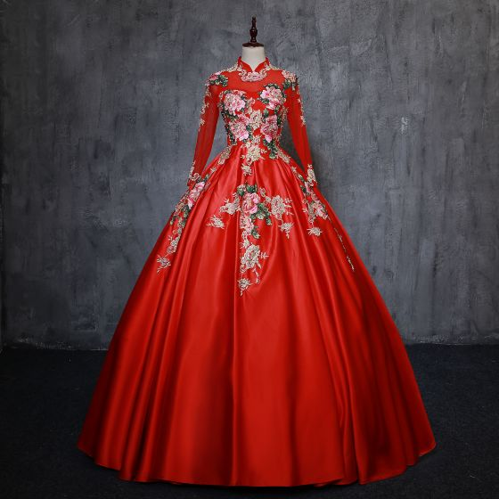 Chinese style Vintage / Retro Red Quinceañera Prom Dresses 2019 Ball Gown High Neck Pearl Lace Flower Long Sleeve Backless Floor-Length / Long Formal Dresses