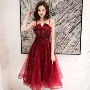 Chic / Beautiful Burgundy Cocktail Dresses 2020 A-Line / Princess Spaghetti Straps Sleeveless Appliques Lace Beading Sequins Tea-length Ruffle Backless Formal Dresses