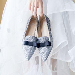Scintillantes Argenté Chaussure De Mariée 2019 Paillettes Noeud À Bout Pointu Plate
