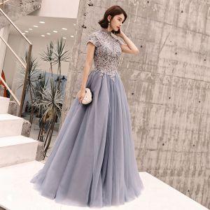 Elegante Blau Abendkleider 2019 A Linie Stehkragen Pailletten Spitze Blumen Kurze Ärmel Rückenfreies Lange Festliche Kleider