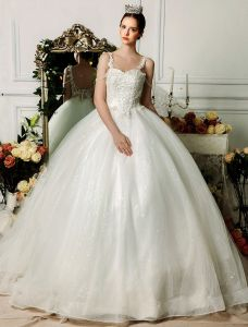 2015 Elegant Spaghetti Straps Appliques Lace Ball Gown Wedding Dress