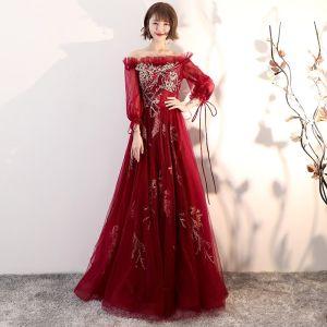Élégant Bordeaux Robe De Soirée 2018 Princesse De l'épaule Gonflée Manches Longues Appliques En Dentelle Longue Volants Dos Nu Robe De Ceremonie
