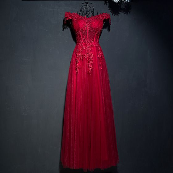 Chic / Beautiful Red Formal Dresses 2017 Lace Flower Sequins Pearl Off-The-Shoulder Sleeveless Ankle Length Empire Evening Dresses