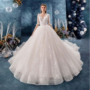 Charming Ivory Wedding Dresses 2019 Ball Gown V-Neck Bow Lace Flower 1/2 Sleeves Backless Royal Train