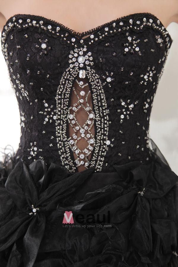 Princesse De La Mode Courte En Satin Organza Robe De Cocktail Noire
