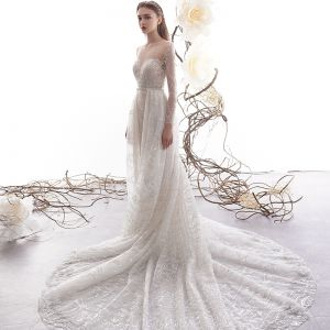High-end Charming Champagne See-through Wedding Dresses 2019 Trumpet / Mermaid Scoop Neck Long Sleeve Backless Beading Detachable Court Train